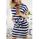 Classic Fashion Striped Printed Round Neck Short Sleeve Tied Waist Mini T-Shirt Dress