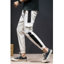 Mens Drawstring Waist Flap Pocket Colorblocked Side Ankle-Length Cotton Cargo Pants