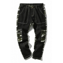 New Trendy Camo Printed Fashion Contrast Stitching Casual Black Pants for Men