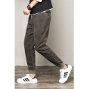 Mens Retro Corduroy Simple Plain Drawstring Waist Casual Tapered Pants