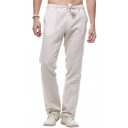 Mens Retro Chinese Style Tied-Waist Simple Plain Loose Fit Straight Linen Pants