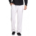 New Stylish Basic Plain Drawstring-Waist Cotton Loose Straight-Leg Lounge Pants for Men