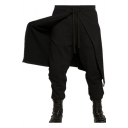 Men's Street Fashion Basic Plain Drawstring Waist Wrap Back Black Cotton Baggy Pants