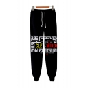 Boy Band 3D Figure Printed Drawstring Waist Cotton Joggers Sweatpants