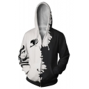 Comic Cosplay Costume Long Sleeve Zip Up Casual Sport Black and White Hoodie
