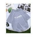 Summer Raining Print Basic Short Sleeve Round Neck Cotton T-Shirt