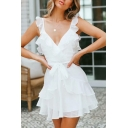 Summer New Stylish Simple Plain V-Neck Ruffled Hem Bow-Tied Waist Mini A-Line Dress