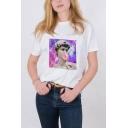 Vaporwave Funny Bubble Gum Portrait Printed Summer White T-Shirt