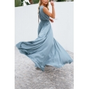 V Neck Sleeveless Tied Waist Split Front Maxi A-Line Dress