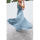 V Neck Sleeveless Tied Waist Split Front Maxi A-Line Dress