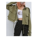 Chic Plain Stand Collar Long Sleeve Drawstring Hem Cropped Work Jacket