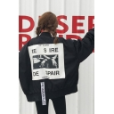Fashion Letter DESIRE DESPAIR Graphic Back Long Sleeve Stand Collar Zip Up Bomber Jacket