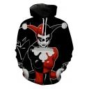 Fashion Queen Joker Pattern Long Sleeve Sport Loose Hoodie in Black