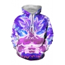 Comic Character 3D Printed Sport Relaxed Fit Purple Hoodie