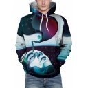 New Stylish Unique Cool 3D Oil Painting Face Galaxy Print Sport Casual Blue Hoodie