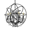 Globe Chandelier with Candles Antique Style 6 Lights Crystal Pendant Light in Rust for Foyer