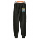 Popular BOY Group Cool Letter Print Drawstring Waist Cotton Loose Sweatpants