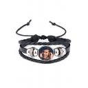 New Fashion Figure Print Steel Leather Bracelet
