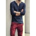 Men's New Stylish Retro Distressed V-Neck Plain Long Sleeve Relaxed Henley Shirt
