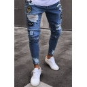 Hot Fashion Letter ARMY Badge Patchwork Guys Slim Fit Ripped Jeans