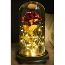 Beauty and The Beast LED Rose Flower in Glass Dome on Wood Base Gift Home Decorations