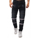Mens Fashion Patchwork Ruched Pleated Regular Fit Black Jeans