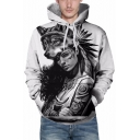 Cool Funny Wolf Beauty Girl 3D Pattern Loose Fit Unisex White Hoodie