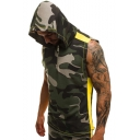 Men's Summer Fashion Camo Printed Half-Zip Front Sleeveless Cotton Fitness Training Hoodie