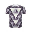 Cool 3D Diamond Geometric Print Short Sleeve Purple T-Shirt