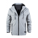 New Style Fashion Plain Long Sleeve Loose Zip Up Hooded Casual Men's Windbreaker Jacket with Mesh Lining