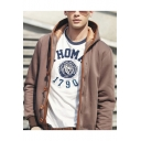 College Style Long Sleeve Contrast Button Closure Logo Elbow Patch Hoodie Coat for Men