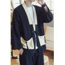 Chinese Style Colorblocked Pockets Tied Front Three-Quarter Sleeves Retro Design Linen Cardigan Kimono Shirt Coat for Men