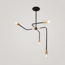 Black Curved Arm Hanging Light Modernism Minimalist Metallic 4 Heads Chandelier for Sitting Room