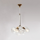 Clear Glass Sphere Chandelier Post Modern 3/4/6 Lights Hanging Light Fixture in Gold for Coffee Shop
