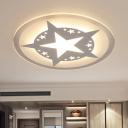 White Starry LED Flush Mount Modern Chic Ultra Thin Acrylic Ceiling Lamp for Nursing Room Bedroom