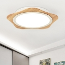 Woody Floral LED Flush Light Nordic Minimalist Porch Foyer Surface Mount Ceiling Light in Warm/White