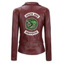 Fashion Snake Letter SOUTH SIDE Print Back Long Sleeve Lapel Collar Zip Up Biker Jacket