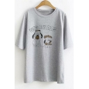 Lovely Cartoon Letter DOG EAT DOG Relaxed Fit Short Sleeve Round Neck T-Shirt
