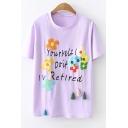 Summer Cute Letter Floral Embroidered Tassel Embellished Short Sleeve Casual T-Shirt