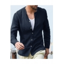 New Stylish Fashion Stand-Collar Long Sleeve Simple Plain Casual Button-Up Linen Shirt