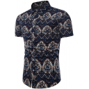 Chinese Style Retro Ethnic Pattern Short Sleeve Slim Fit Navy Shirt for Men