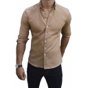 Men's New Stylish Simple Plain Long Sleeve Slim Fit Button-Down Shirt