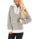 Lapel Collar Zip Front Fake Two Piece Colorblock Long Sleeve Sweatshirt