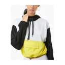 Unique Black and White Yellow Half-Zip Front Flap Pocket Long Sleeve Drawstring Waist Cropped Hoodie