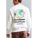 Hip Hop Style Fashion Letter SSUR PLUS Earth Printed Crewneck Long Sleeve Pullover Sweatshirt