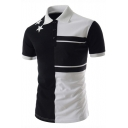 Summer Simple Colorblocked Star Printed Three-Button Short Sleeve Polo for Men