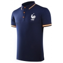 Fashion France Soccer Cock Logo Printed Contrast Tipped Collar Short Sleeve Men's Slim Polo