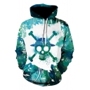 3D Skull Pattern Long Sleeve Casual Sport Pullover Green Hoodie