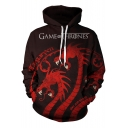Game of Thrones Dragon Pattern Fashion Long Sleeve Sport Casual Coffee Hoodie