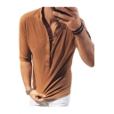 Men's Fashion Simple Plain Half-Sleeve Button Down V-Neck Casual Loose Henley Shirt